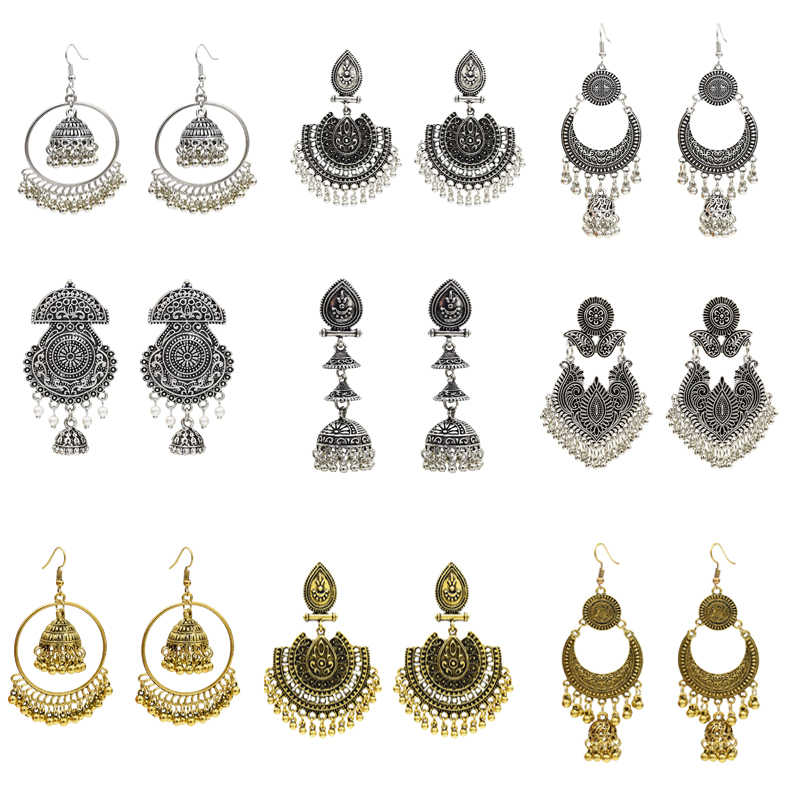 Indian Earrings for Women Oxidized Jhumka Gold Silver Big Long Tassel Bells Drop Earrings Afghan Egypt Gypsy Turk Ethnic Jewelry
