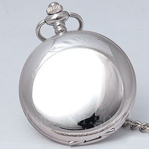 Fashion Roman 12/24 Hour Silver Tone Mirror Case Pocket Watch Men Quartz Watch