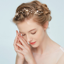Фотография Original HuoMei handmade Bridal headband elegant golden leaves headpiece hair jewelry accessories for women Wedding prom party