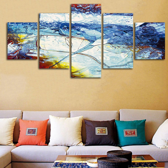 Living Room Canvas Poster Modern Home HD Print Painting 5 Panel ...