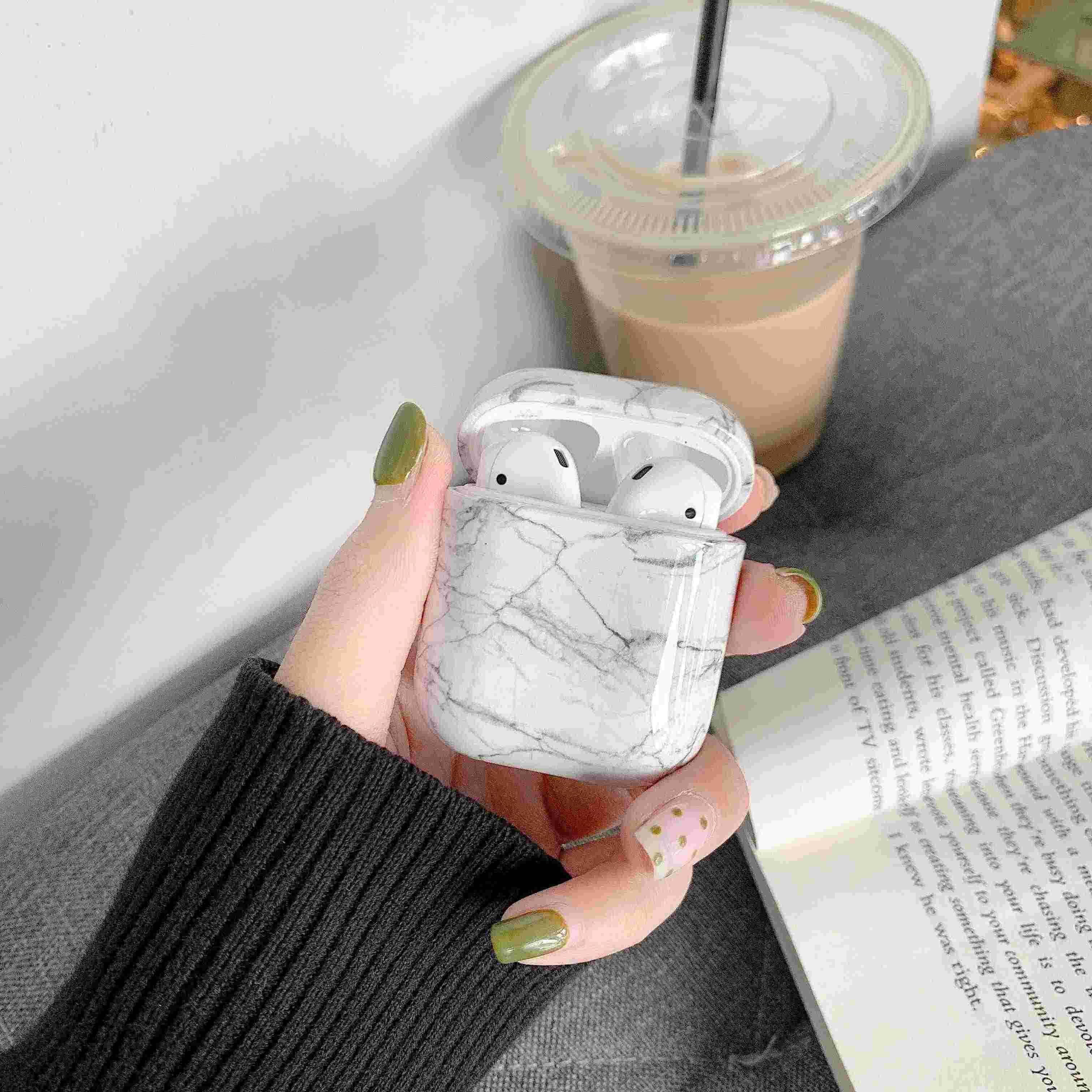 Capa para apple airpods originais caso mármore bonito capa para apple airpods 2 1 caso acessórios fones de ouvido ar pods caixa coque