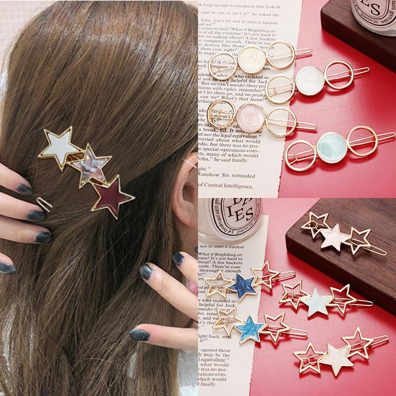 2019 New Cute Girls Acetate Geometric Round Star Hairpins Women Fashion Hair Clips Headbands Barrettes Headwear Hair Accessories