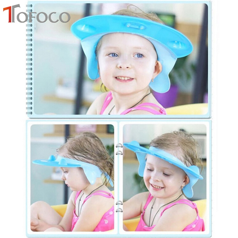 TAFTOYS New Baby Kids Adjustable Shampoo Hat Adult Children Soft Silicone Shower Cap Sun Hat For Baby Bathing Accessories