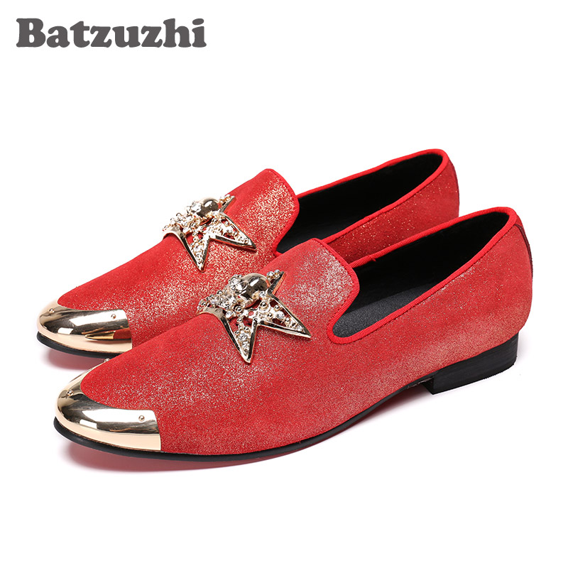 все цены на Batzuzhi New Mens Shoes Red Casual Leather Shoes with Metal Star Leather Loafers Shoes Men Party and Wedding Flats Man Zapatos онлайн