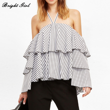 BRIGHT GIRL Off Shoulder Stripes Sexy Large Size Shirt Women Backless Chiffon Camis Party Tops 2017 New Summer Arrivals