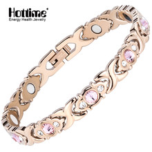 Hottime Pink Crystal Gem Bracelet Bio Magnetic Health Energy Bracelets Rose Gold Stainless Steel Women's Fashion Jewelry 10248(China)
