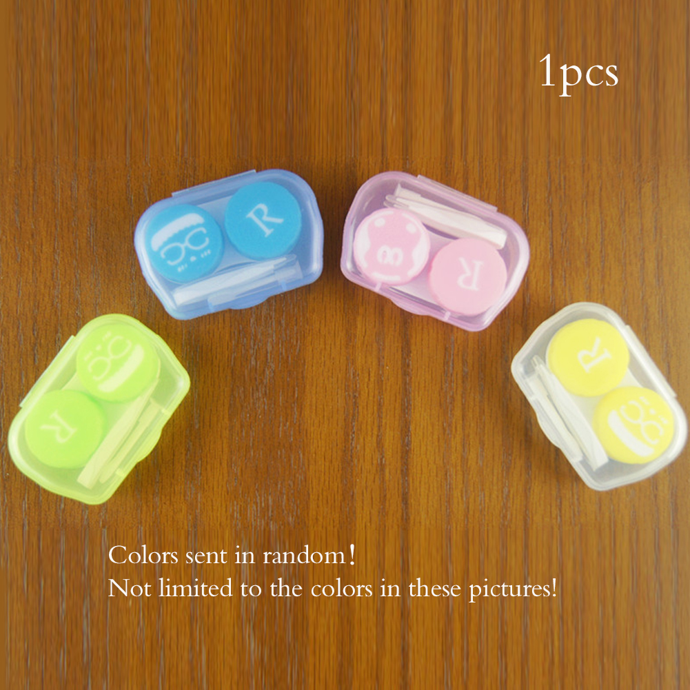 New 1 PC Candy Color  Lens Holder Storage Soaking Box Cases Container Unisex Travel Kit Easy Take Random Color