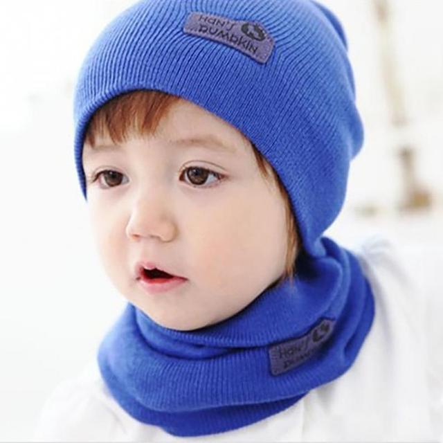Hot Hedging Crochet Children Hatscarf Warm Letter Knitted Kids Hats
