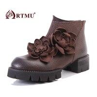 Artmu/модные женские ботинки, обувь с цветами, Ботинки martin, кожаные женские короткие ботинки, удобные ботинки ручной работы, botas de mujer
