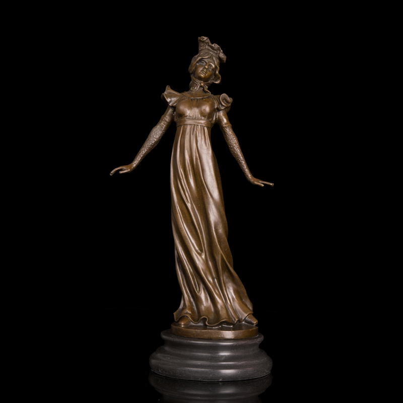 New Style Classical figurine elegant  lady sculpture dressed woman bronze statue  home decoration hot cast  statuesNew Style Classical figurine elegant  lady sculpture dressed woman bronze statue  home decoration hot cast  statues