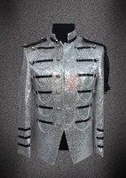 Мода серебряная звезда стиль мужская epaulet костюм топ стадия мужской пиджак блестки певица ds производительности одежды костюмы пальто