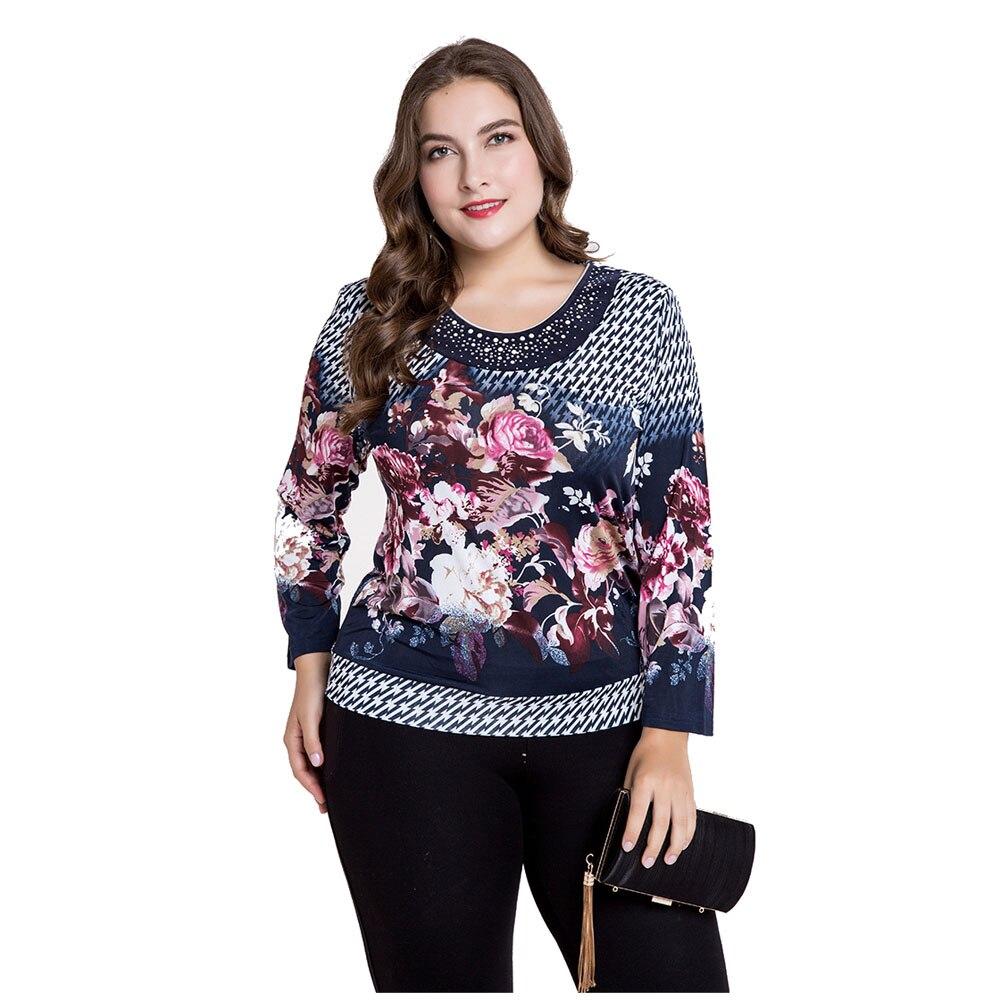 Good quality long sleeve women t-shirt o-neck casual women tops floral print cotton t shirt women plus size 4XL 5XL