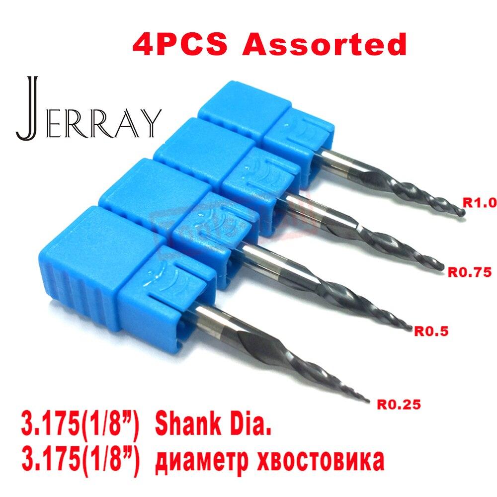 4 PCS/Lot R0.25 & 0.5 & 0.75 & 1.0mm 3.175mm Tige HRC55 carbure De Tungstène solide Conique Balle Nez fin Mills et cône CNC fraise