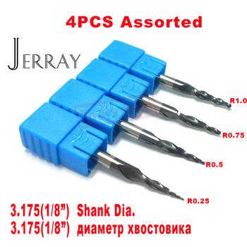 4PCS/Lot R0.25&0.5&0.75&1.0mm 3.175mm Shank HRC55 Tungsten solid carbide Tapered Ball Nose End Mills and cone CNC Milling cutter free shipping hrc55 tungsten solid carbide coated tapered ball nose end mills taper and cone endmills huhao