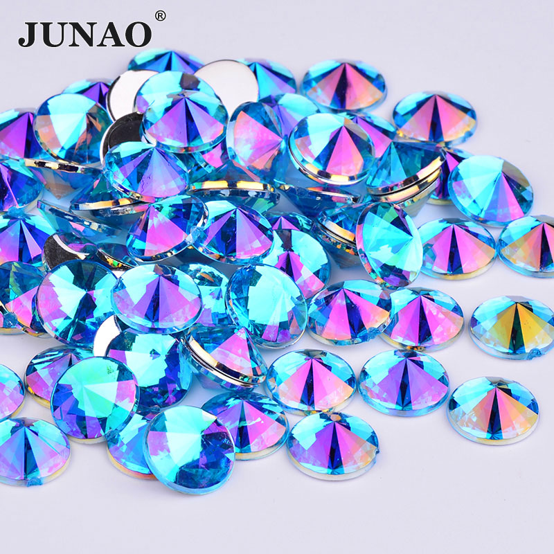 JUNAO 10mm Blue AB Rhinestones Flat Back Acrylic Gems Round Face Nail Crystal  Stones Non Sewing Rivoli Scrapbook Beads for Dress-in Rhinestones from Home  ... e3646899151d