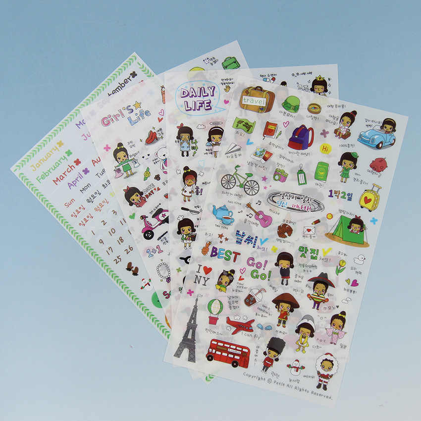 4PCS/ Pack Daily Life 4 Sheets Cute Stationery Travel Pvc Kawaii Planner Stickers Sticky Notes  Papelaria
