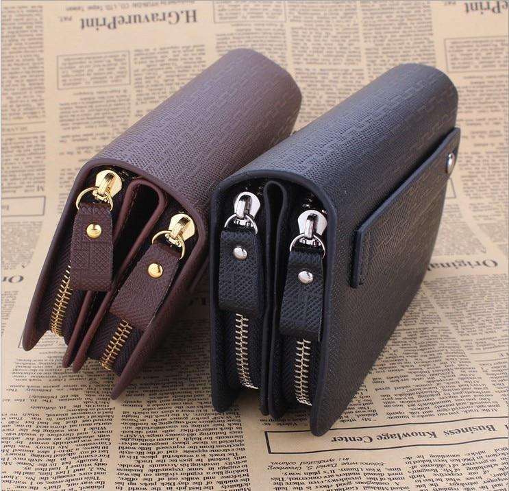 cc6fa10a6 Men Business Clutch Bag Leather Double Zipper Wallet Handbag Checkbook Purse