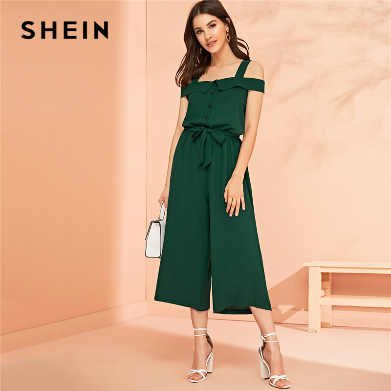 SHEIN Green Button Front Belted Wide Leg Crop   Jumpsuit   Women 2019 Summer Solid Straps Cold Shoulder Mid Waist Elegant   Jumpsuits