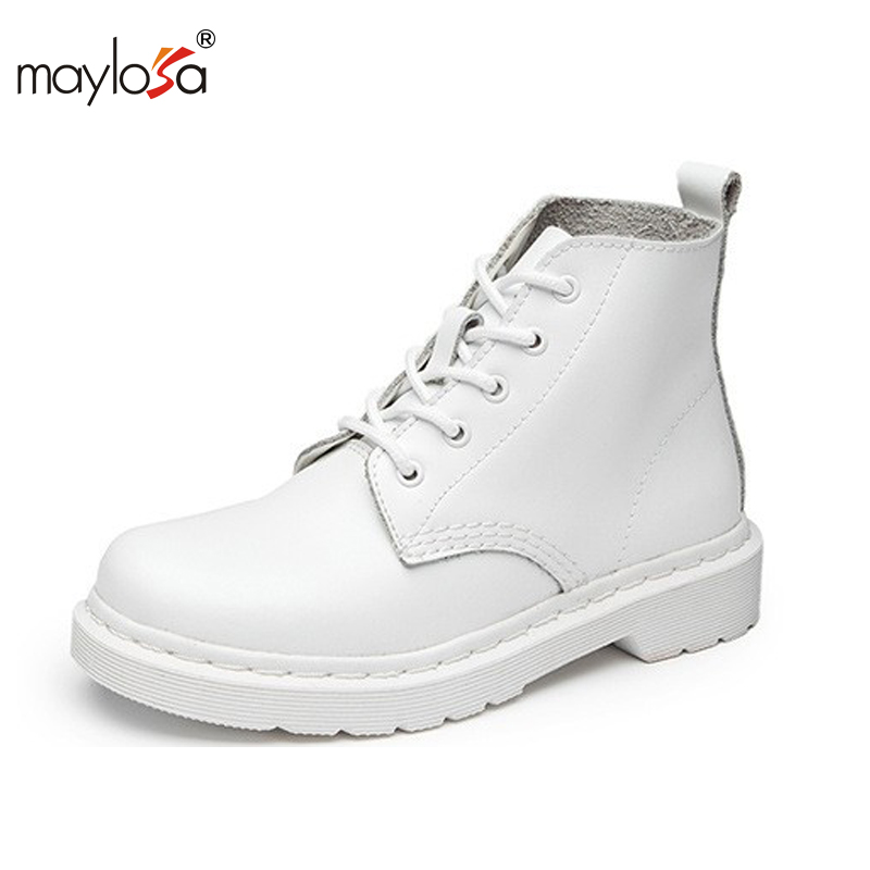 MAYLOSA New Autumn And Winter Short Flat Heels Shoes Genuine Leather Martin Boots Side Zipper Women Ankle Boots Plus Size XYY118