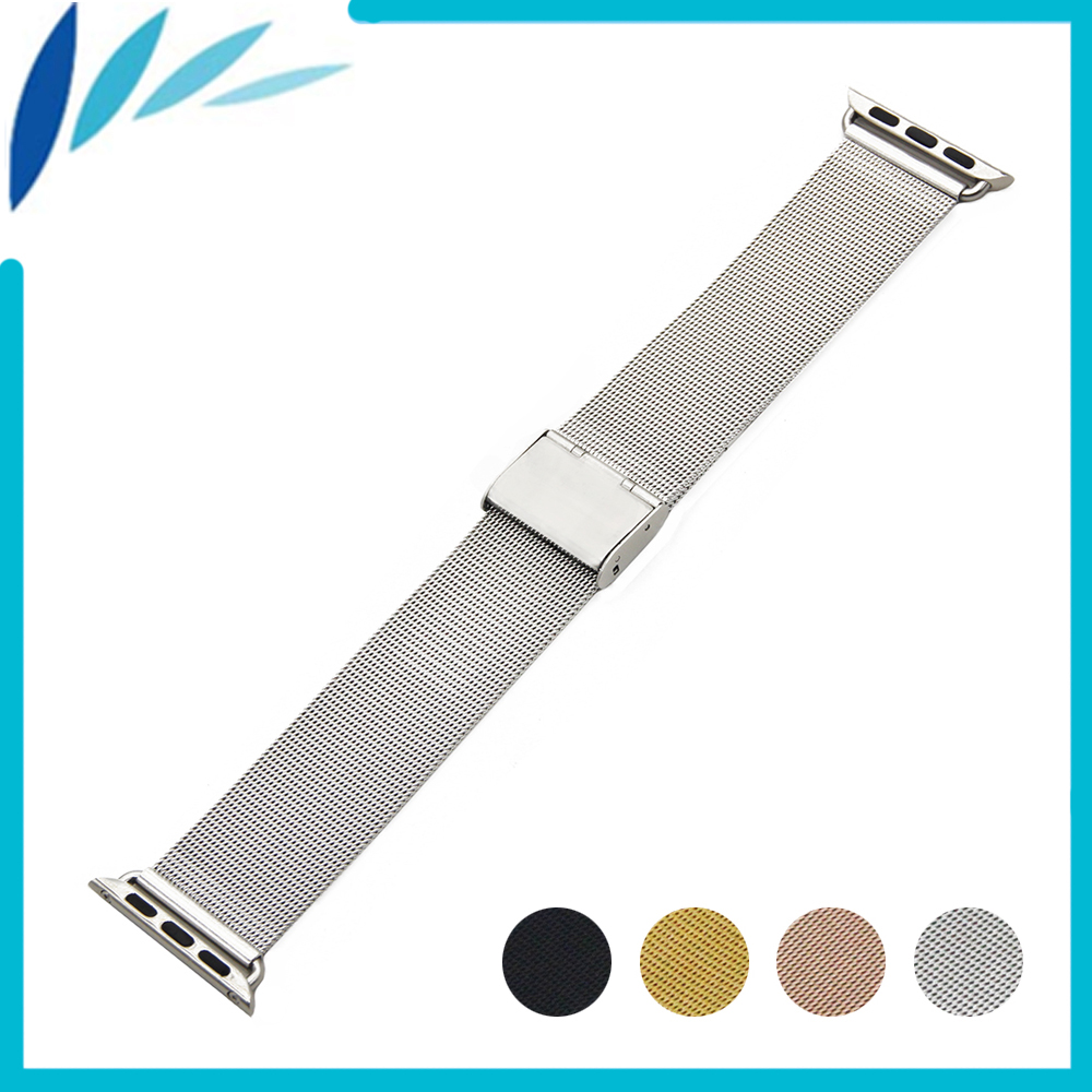 Stainless Steel Watchband for iWatch Apple Watch / Sport / Edittion 38mm 42mm Strap Band Loop Wrist Belt Bracelet Black Silver 28mm convex stainless steel watchband replacement watch band butterfly clasp strap wrist belt bracelet black rose gold silver
