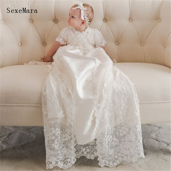 Heirloom Gowns Long Baby Girls Christening Dress Lace Baptism Gown White Ivory with Bonnet 2016 lace appliques baby boys girls infant outfit heriloom dress dedication baptism gown long christening gowns with bonnet