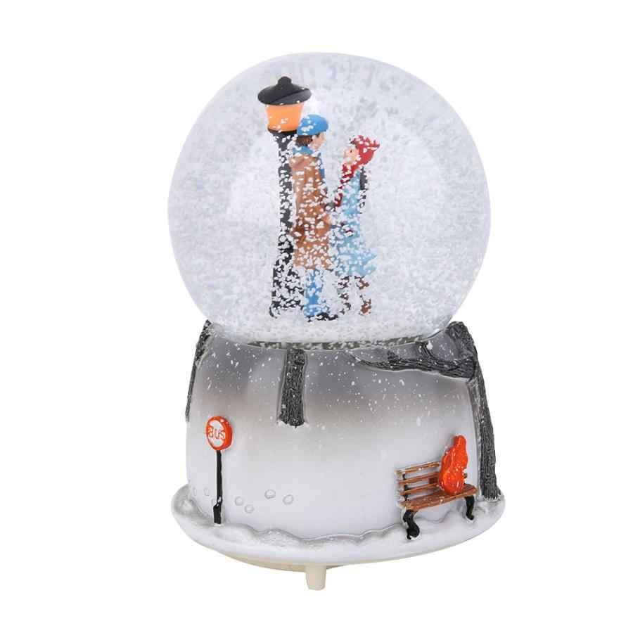 Ночник музыкальная шкатулка зимние влюбленные снежный шар хрустальный шар музыкальная шкатулка ремесло Домашний Настольный декор свадебный подарок