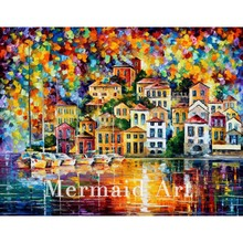 Hand Painted Landscape Abstract Palette Knife Modern Dream Harbor Oil Painting Canvas Wall Living Room Artwork Fine Art