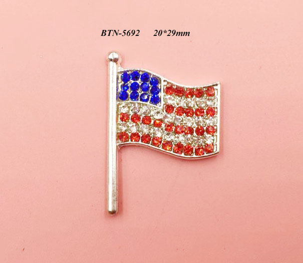 Free shipping flatback USA flag rhinestone button 50PCS/lot for hair accessary (BTN-5692)