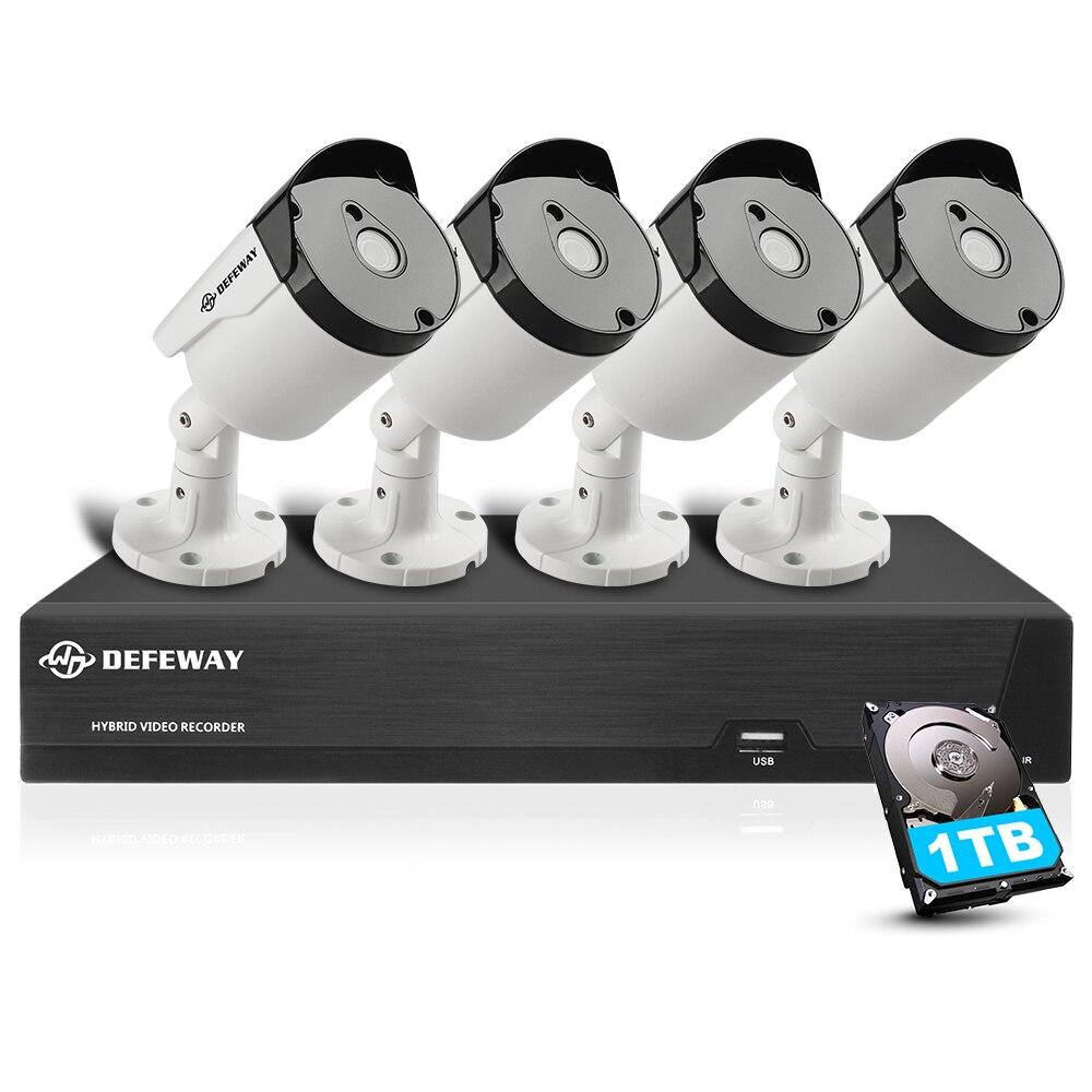 DEFEWAY 8CH HD 5.0MP (2560x1920 p) h.265 + Caméra de Sécurité Extérieure Système HDMI CCTV Vidéo Surveillance 4 Caméra Ensemble avec 1 tb HDD