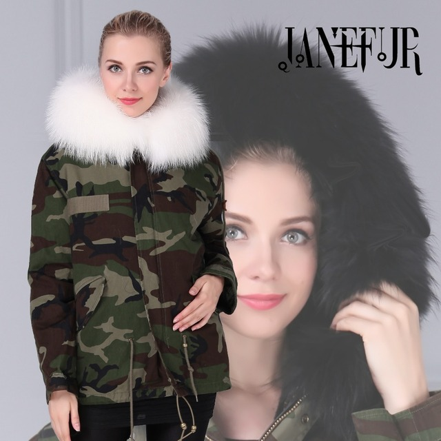 DHL Fast Shipping Camouflage Fur Jacket Women Real Raccoon Fur Hooded Parka With Faux Fur Lining For Winter