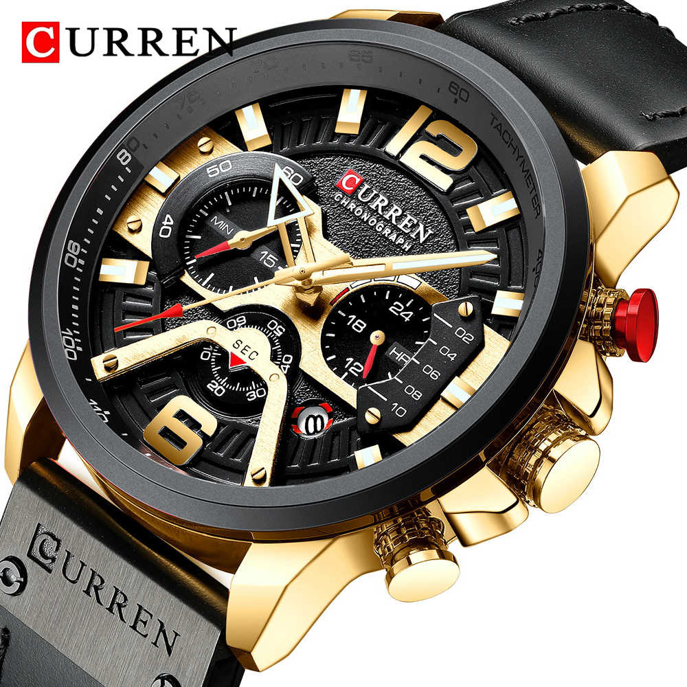 Relojes CURREN para hombre, negro dorado, de lujo, Cuero militar, reloj a prueba de agua, reloj cronógrafo para hombre, reloj de pulsera de regalo para hombre