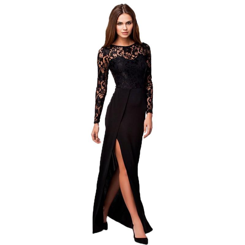 O-neck long sleeve floor length party dress 1