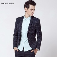 ROGOR MAN High Quality 2015 Men Cotton Deep Blue Super Slim Suits Jackets England Style Fashion