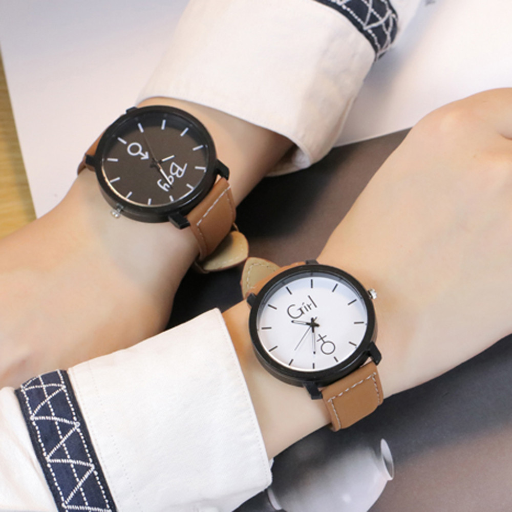 Watches Lover's watch 2018 Simple Fashion Leather Retro Creative Quartz Wrist Lovers Watch  reloj mujer Gifts F85