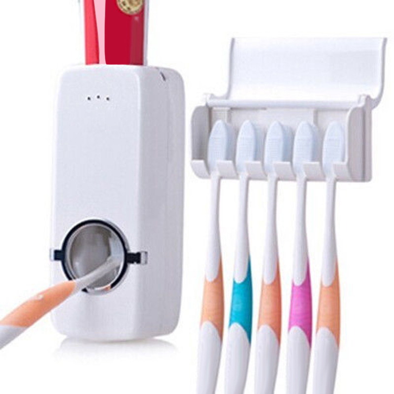 New bathroom automatic toothpaste dispenser 5 toothbrush for Bathroom accessories electric toothbrush holder