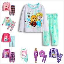 Подарочные пижамы; Пижама для девочек; одежда для малышей; комплект одежды для детей; детские пижамы для девочек; Пижама с принцессами Эльзой и Анной