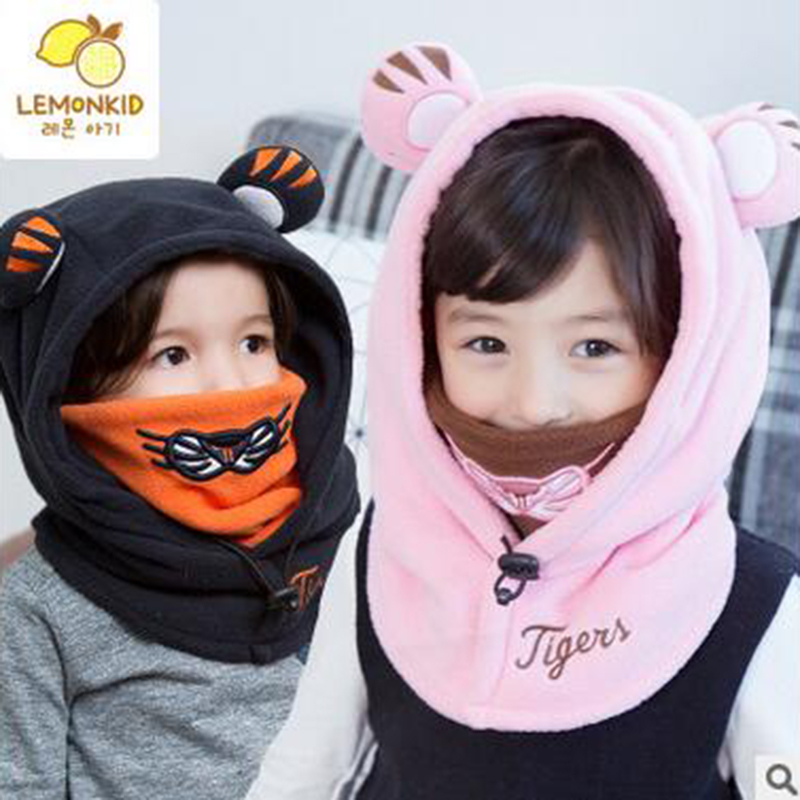 2016 New Fashion children Cotton Warm Animal Hoodies Hat and Scarf Fluffy Warm One Piece Set Cute Bear Winter Caps Boy Girls