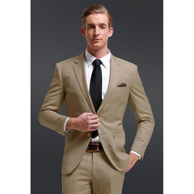 Fresh Notch Collar Mens Suits Khaki Groomsmen Beach Wedding Suit ...