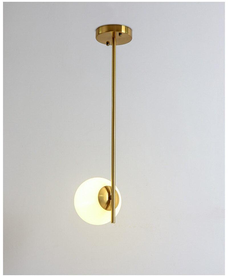 Moderno pingente de luz bola vidro led