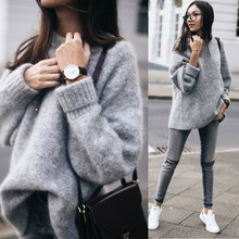 Womens Easy Knit Sweater Jumper Vintage O-neck Long Sleeve Thick Loose Sweater Large elasticity