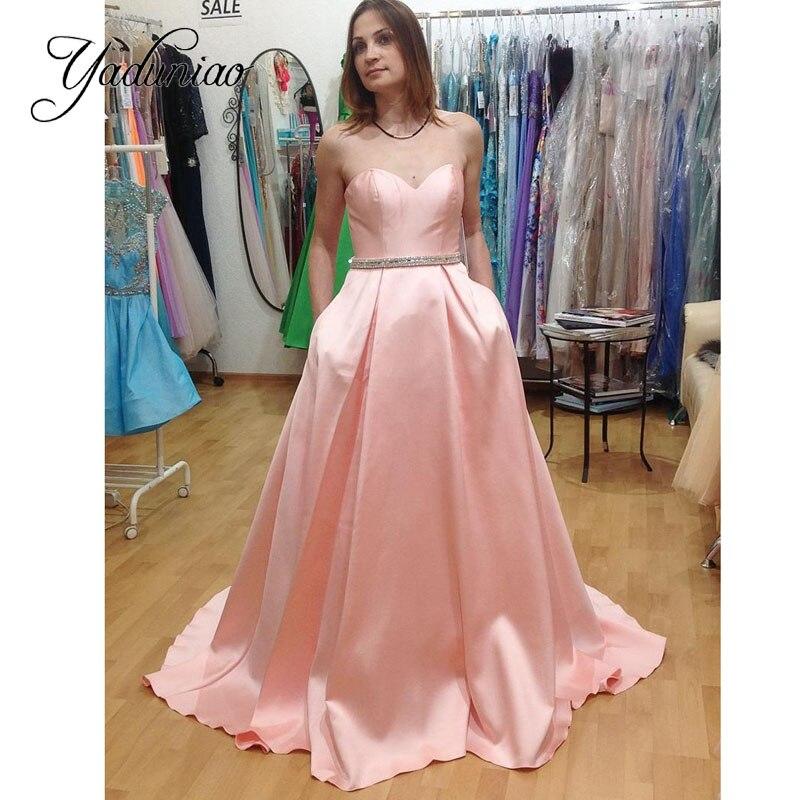 Novia sin mangas de raso rosa un line vestido de noche vestido de ...
