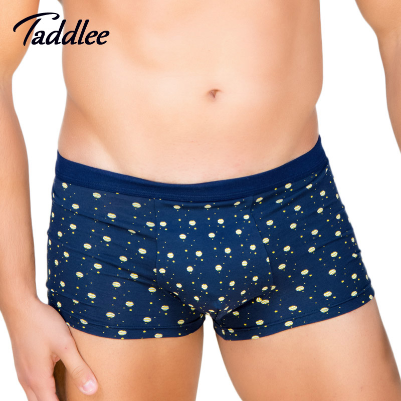 Taddlee Brand 4pcs Men Underwear Boxer Shorts Sexy High Rise Elastic Basic Trunks Gay Colors Print Boxers Modal Soft Pad Lot New