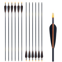 High Percentage Archery Arrows Spine 400 Carbon Arrow Shaf 4 TPU Vanes For Hunting And Shooting Bow 28/29/30Inch 6PK