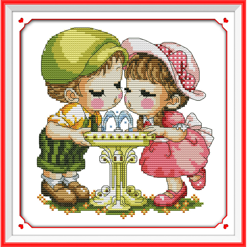 Everlasting love A cute couple Chinese cross stitch kits Ecological cotton stamped 14 11CT DIY gift wedding decoration for home