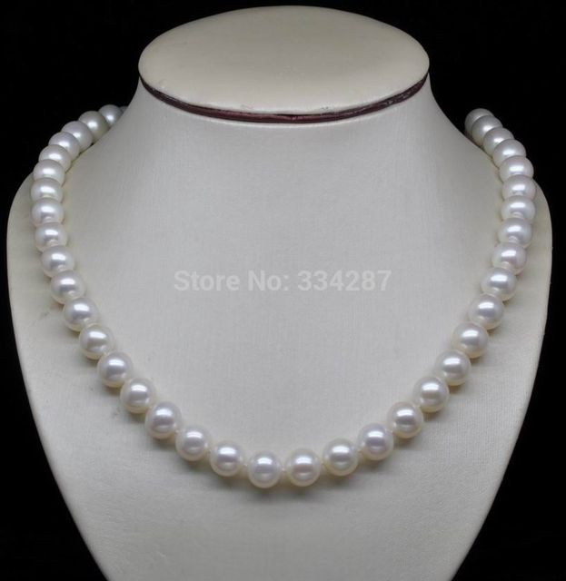 "100% Selling Picture full AAA Perfect 9-10mm white pearls necklaces 18"" Long jewerly YG"
