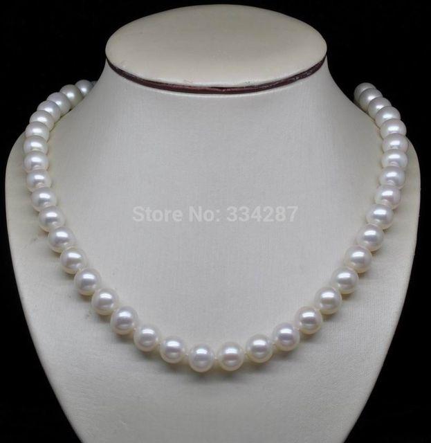 "100% a Venda de Imagem completa AAA Perfeito 9-10mm colares de pérolas brancas 18 ""Longo jewerly YG"