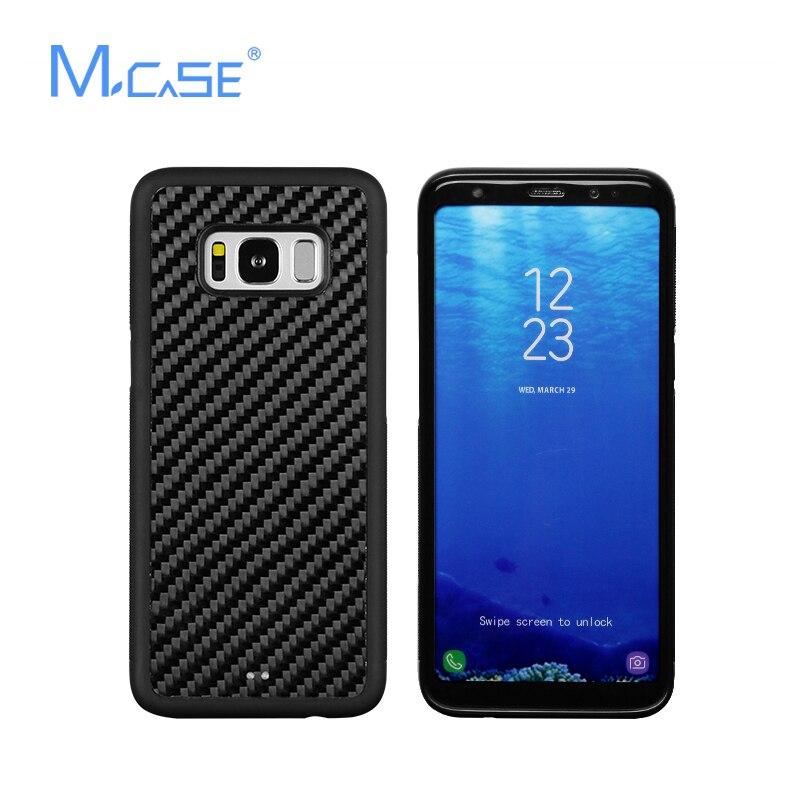 Цена за Mcase для Samsung Galaxy S8 углеродного волокна Чехол Мягкий ТПУ противоскольжения Обложка для Samsung S8 плюс ПК + ТПУ + реальный случай из углеродного волокна