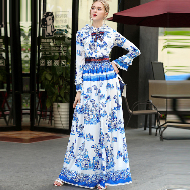 2017 New Arrival Spring Summer Blue and white porcelain Print Bow Sequins Maxi Long Dress High quality Floor-Length Dress