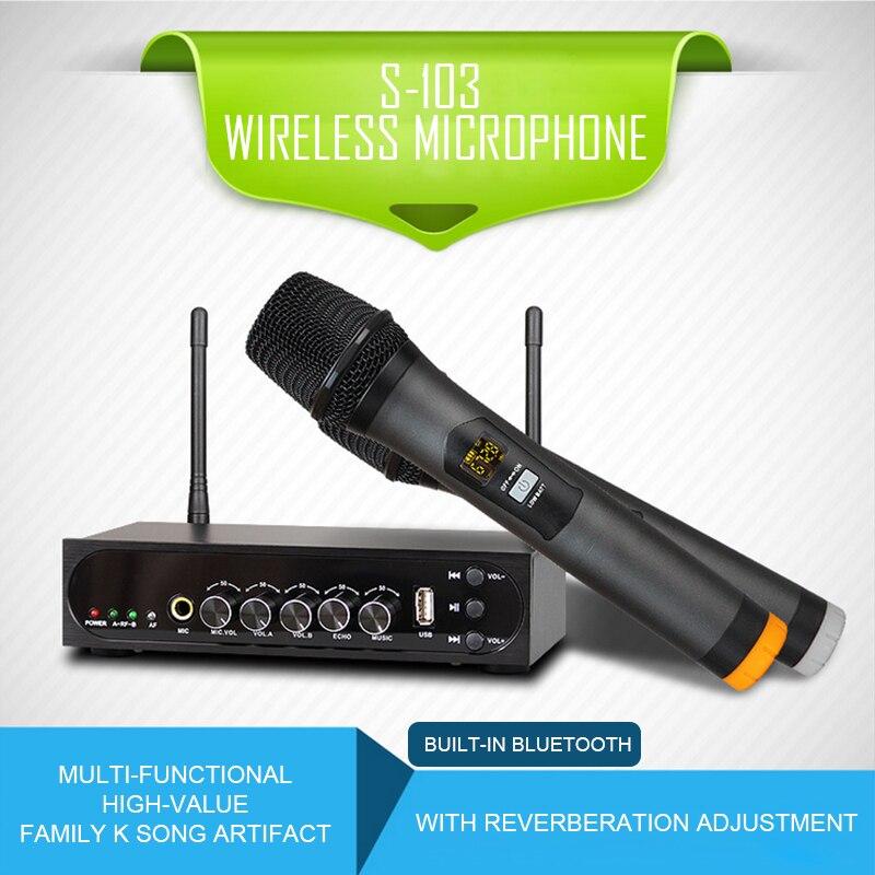 Microphone à main sans fil double canal KEXU UHF avec Port USB système de Microphone sans fil karaoké facile à utiliser