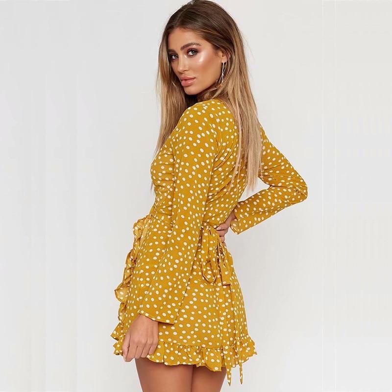 884e00ced7 ... yinlinhe Yellow Polka Dot Summer Dress Long Sleeve Sexy Wrap Dress Women  Sash Slim Waist V ...
